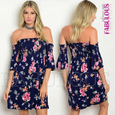 New Floral Printed Off Bare Cold Shoulder Summer Party Dress Size 6 8 10 XS S M