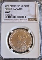 **ONLY 2 HIGHER** 1987 Piefort France 100 Francs NGC MS67 - Silver Coin