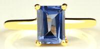 585er Gelbgold Rechteck Form 1,60Kt Natürlichen Blau Tansanit Solitär Damen Ring