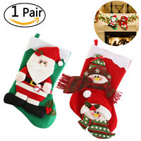 2pcs Santa Stocking Christmas Socks Reindeer Snowman Tree Decoration Claus