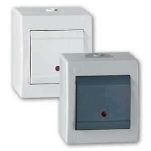 Ein/Aus Aufputz Schalter mit Glimmlampe (Kontrollleuchte) IP 44 grau anth./weiss