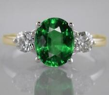 2.55ct Oval Emerald and F VS Diamond Ring in 18ct Yellow Gold Engagement 3-Stone