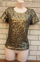 H&M GOLD SEQUIN SEQUINS BEADED SHORT SLEEVE PARTY XMAS BLOUSE T SHIRT TOP S