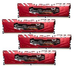 64GB G.Skill Flare X DDR4 2400MHz PC4-19200 for AMD Ryzen CL15 Quad Kit (4x16GB)