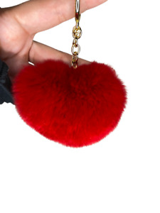Michael Kors Womens Collection Faux Fur Heart Puff Ball Red Keychain Purse Charm