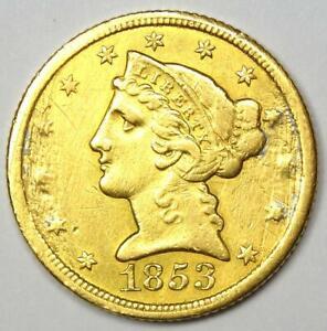 1853-C Liberty Gold Half Eagle $5 - AU Details (Damage) - Charlotte Gold Coin!