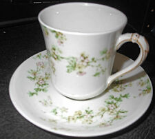 c1910-20 Haviland Chocolate Cup and Saucer, Pink Apple Blossoms, Green Foliage