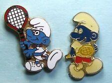Us Open Sale -2 Smurf Tennis Pins -1 Cloisonne, Peyo Brand &1 unbranded enamel