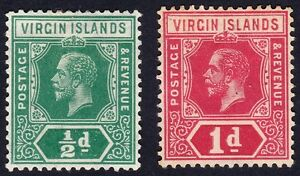 /British Virgin Islands 1913 1d (toned gum) &1/2d wmk.MCA @E2261