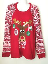 Womens Christmas Sweater Sz XL Holiday Rudolph Reindeer Snowflake Red Sequin