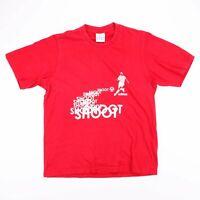 Vintage ADIDAS Red & White Football Shoot Print Sports T-Shirt Size Men's Large