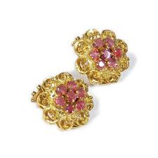 750 Gold & Rubin Ohrringe als Clips Vintage 18K Gold & Ruby Ear Clips Earrings