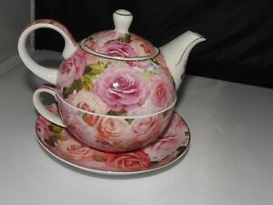 The England Collection Fine China Victorian Rose Nesting Teapot Cup & Saucer Set