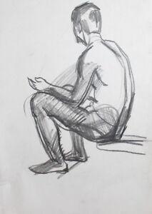 Nude Seated Man Vintage Pastel Drawing