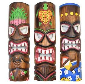 3 Tiki Wandmasken 50cm im Set Wandmaske Holzmaske Maske Tiki Hawaii Südsee Look