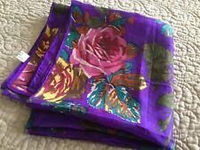 Vintage Large New Purple Silk Scarf Roses Floral Gorgeous