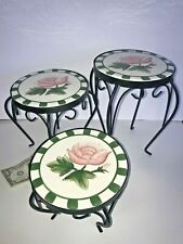 Set of 3 Cute PLANT STANDS with Rose Pattern in creamic tops NIB New In Box