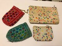 LOT 4 VTG DIME STORE COLORED BEADED COIN PURSE WALLETS MCM HONG KONG