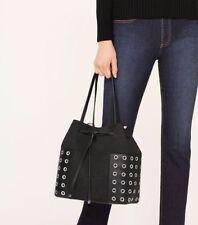 BNWT~ Tory Burch Block-T Grommet Drawstring Tote Handbag Purse ~ Black $525