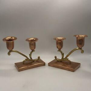 Vintage Signed Mexico Tlaquepaque Cobre/Copper Brass Pair Double Candleholders