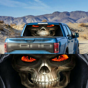 54*14 inch Transparent Car Truck Rear Window Decal Vinyl Sticker 3D Horror Skull