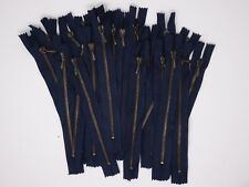 """Lampo 4mm Closed-End Dark Blue Zipper with Antique Nickle Teeth 7"""""""
