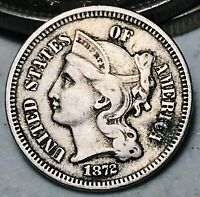 1872 Three Cent Nickel Piece 3C High Grade Choice Good Date US Type Coin CC6281