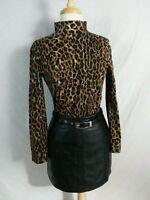 2 Pc Jones NY Leopard Turtleneck Top S-Maxima Wilson Black Leather Mini Skirt 6