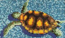 Mosaïque image photo verre vert tortue papier collé piscine sol 160x95cm MB-K35P