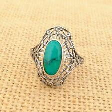 Bali Filigree 925 Sterling Silver Turquoise Ring UK Size R 1/2-US 9 Jewellery
