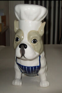 Cute Adorable Stonewear Boston Terrier Dog In Chef's Hat and Apron Money Box
