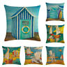 Beach Oil Painting House Cotton Linen Pillow Case Throw Cushion Cover Home Decor