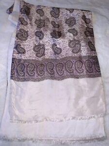 Vintage Retro Men's Trendy MOD Double Silk Style Scarf Cream Lilac