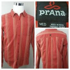 prAna Men's 100% Organic Cotton Stripe LS Button-Front Crimson Casual Shirt M