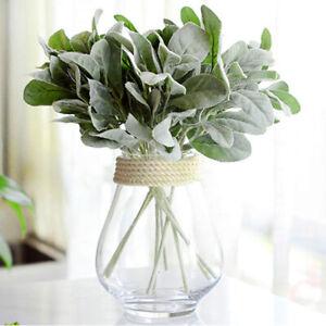 3X Ear Rabbit Plant Artificial Silk Flower Branch Fall Leaves Wedding Home Decor