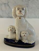 Trio Exquisite Antique Staffordshire Poodles with Pups Cobalt Base 6""