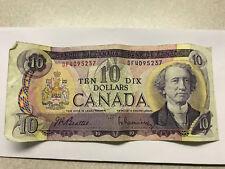 1971 Canada Ten Dollar Note Nice Circulated Pin Holes #9185