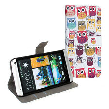For HTC One M7 801s Owl Design Leather Wallet Cash Card Flip Case Cover