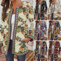 Women Retro Printed Cotton Coat Jacket Cardigan Suit Open Front Blazer Plus Size