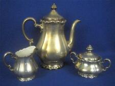 1900 WMF Germany Art Nouveau Silver Plated Porcelain Lined 3pc Coffee Set