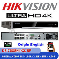 HIKVISION Origin 4K 8ch 8MP POE NVR DS-7608NI-K2/8P H.265 IP CCTV Video Recorder