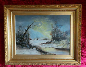WINTER NOCTURNE OF A SLEEPING VILLAGE. BEAUTIFUL OIL PAINTING ON CANVAS.
