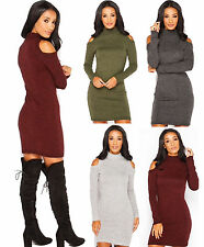 NEW LADIES POLO SLEEVE HIGH NECK KNITTED CUT OUT COLD SHOULDER JUMPER TOP DRESS