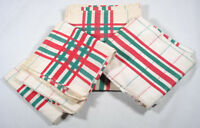 Vintage French pure cotton green red striped checked tartan table napkin x 3 NOS