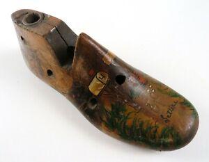 Antique Vintage Hand Painted Folk Art Wood Shoe Last Letter Mail Holder Stand