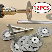 12Pcs Revolving Cutter Mini Emery Circular Saw Disc Blades Mandrel For Drilling