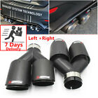 """Pair Akrapovic Real Carbon Fiber ID:2.5"""" OD:3.5"""" Car Exhaust Tip Dual Pipes End"""