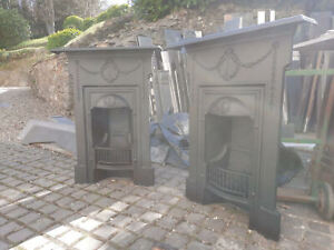 Original Cast Iron Fireplace matching pair