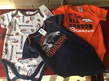 Denver Broncos NFL Baby 3- Piece Bodysuit Creepers Size 3-6 Months - NWT