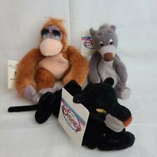 Disney Store Jungle Book Baloo, Louie & Bagheera Mini Bean Bag Plush Lot of 3